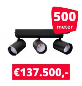 LED Railverlichting Tripolore Zwart 500 spots + 500M rails