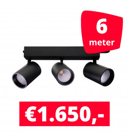 LED Railverlichting Tripolore Zwart 6 spots + 6M rails