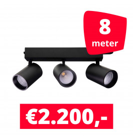 LED Railverlichting Tripolore Zwart 8 spots + 8M rails