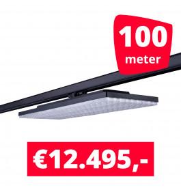 LEDLED Railverlichting Track Line Turbo Plate  4000K Zwart 100 lampen + 100M rails