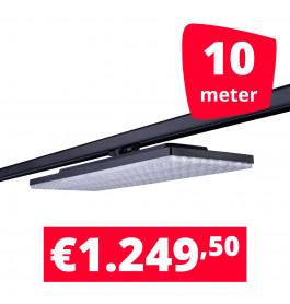 LED Railverlichting Track Line Turbo Plate  4000K Zwart 10 lampen + 10M rails