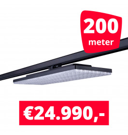 LED Railverlichting Track Line Turbo Plate  4000K Zwart 200 lampen + 200M rails