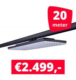 LED Railverlichting Track Line Turbo Plate  4000K Zwart 20 lampen + 20M rails