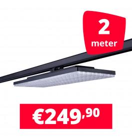 LED Railverlichting Track Line Turbo Plate  4000K Zwart 2 lampen + 2M rails