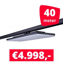 LED Railverlichting Track Line Turbo Plate  4000K Zwart 40 lampen + 40M rails