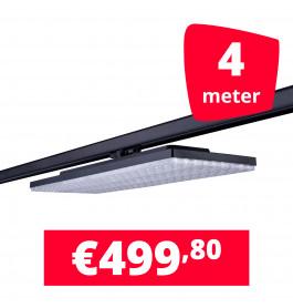 LED Railverlichting Track Line Turbo Plate  4000K Zwart 4 lampen + 4M rails