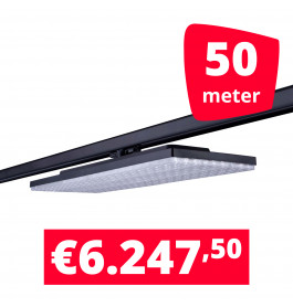 LED Railverlichting Track Line Turbo Plate  4000K Zwart 50 lampen + 50M rails