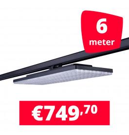 LED Railverlichting Track Line Turbo Plate  4000K Zwart 6 lampen + 6M rails
