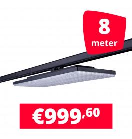 LED Railverlichting Track Line Turbo Plate  4000K Zwart 8 lampen + 8M rails