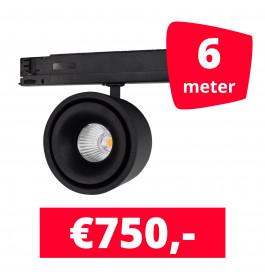 LED Railverlichting Ultimo Zwart 6 spots + 6M rails