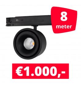LED Railverlichting Ultimo Zwart 8 spots + 8M rails