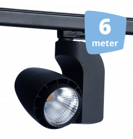 LED railverlichting vento zwart 6 spots + 6m rails