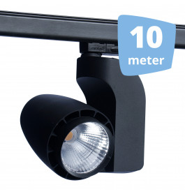 LED railverlichting vento zwart 10 spots + 10m rails