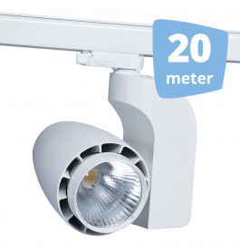 LED railverlichting vento wit 20 spots + 20m rails