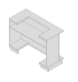Super high glossy toonbank wit met planken exentric S_C-PEC-005_TABLE