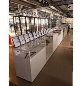 Toonbank wit met glas 1000 x 100 x 60 cm - nummer 55