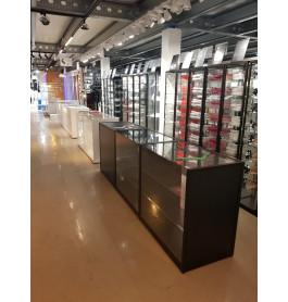 Toonbank zwart met glas 300 x 100 x 60 cm - nummer 58
