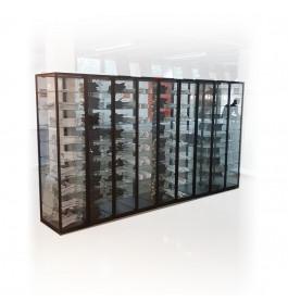 Zwarte design vitrinekast 500 x 200 x 50 cm